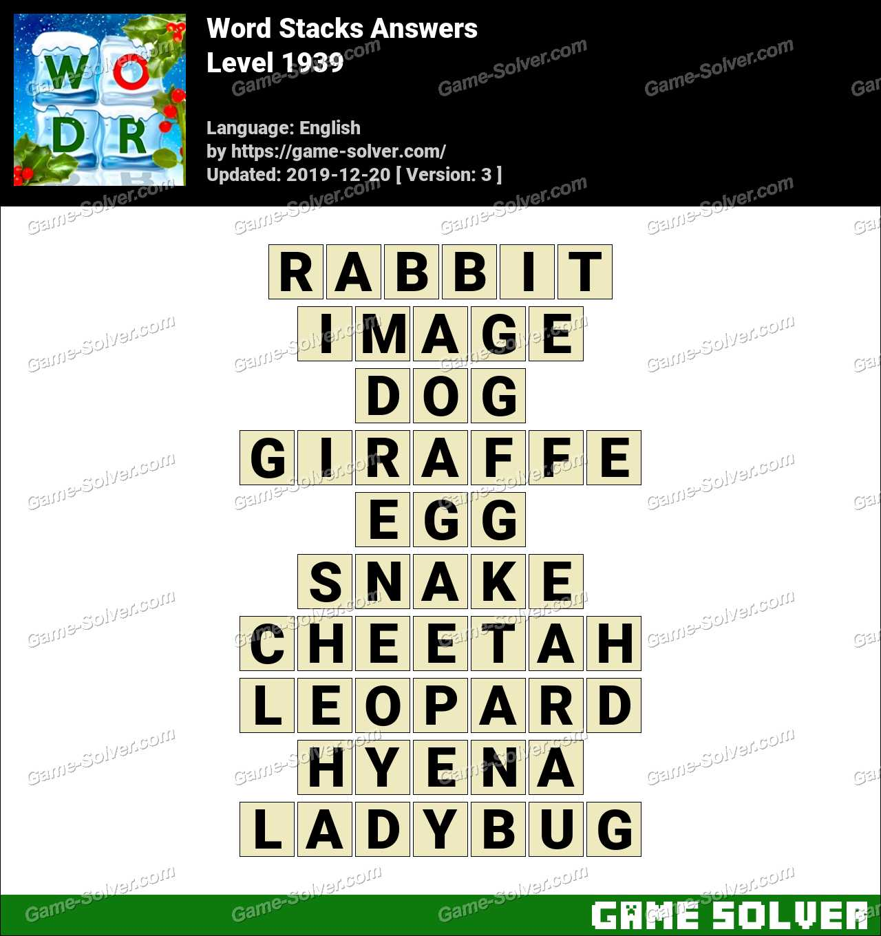Word Stacks Level 1939 Answers