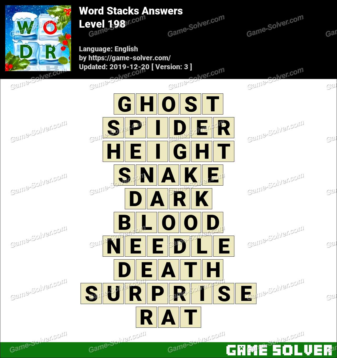 Word Stacks Level 198 Answers