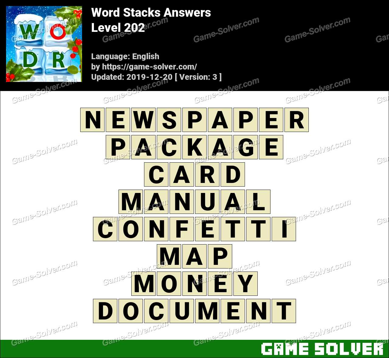Word Stacks Level 202 Answers