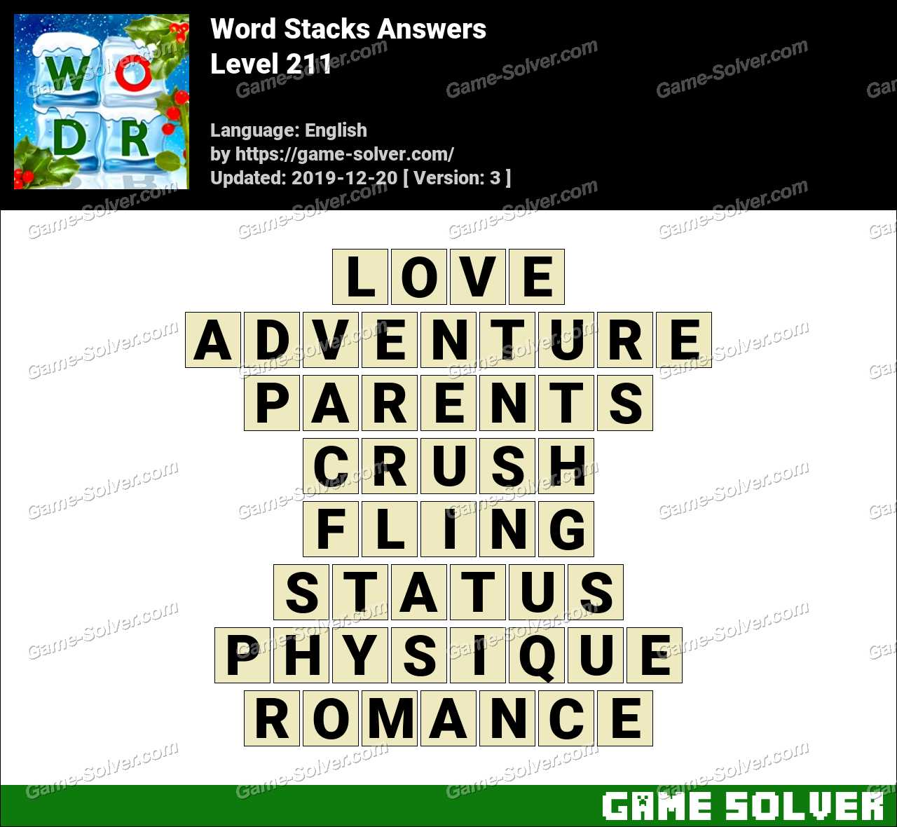 Word Stacks Level 211 Answers