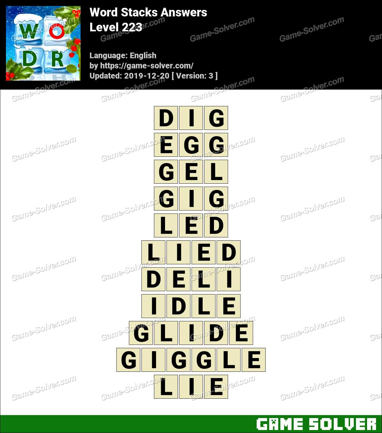 Word Stacks Level 223 Answers