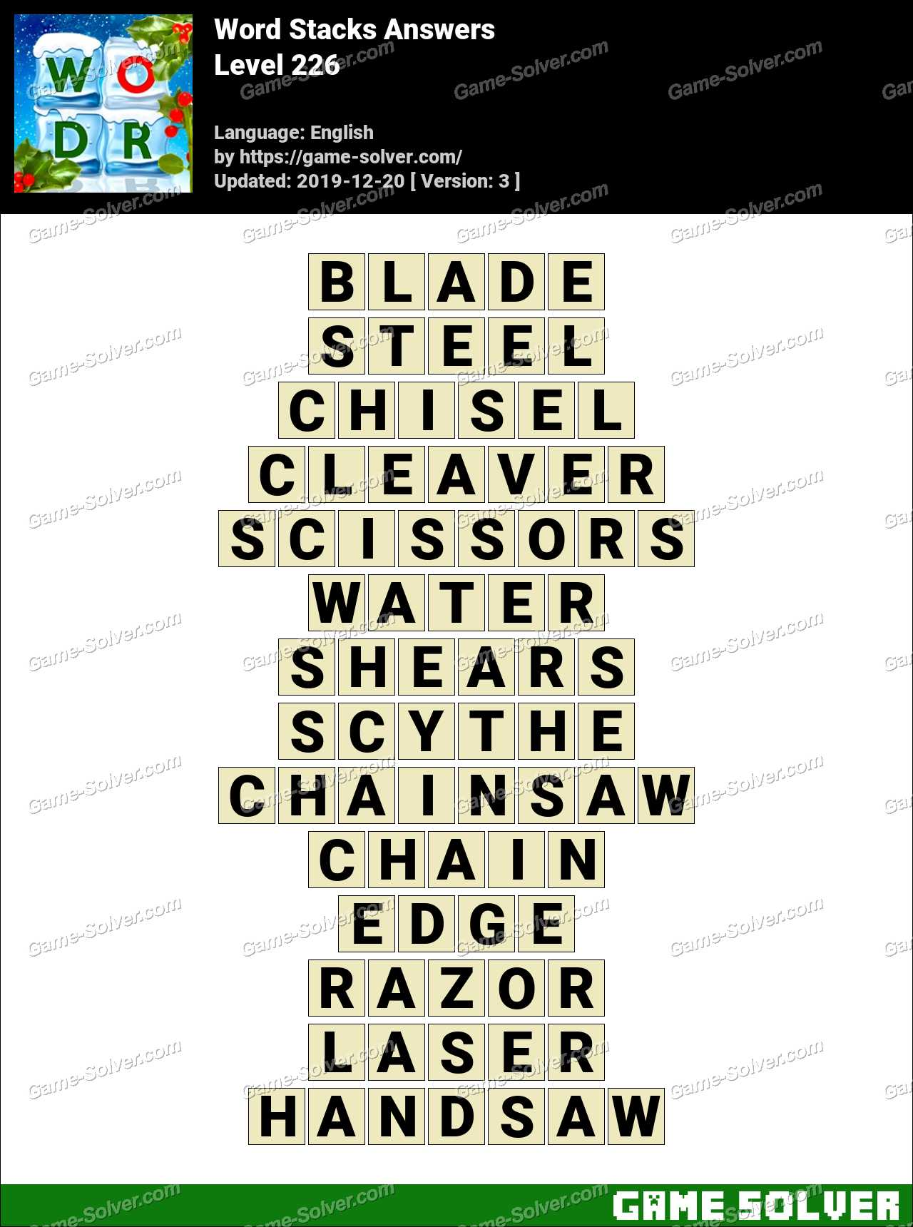 Word Stacks Level 226 Answers