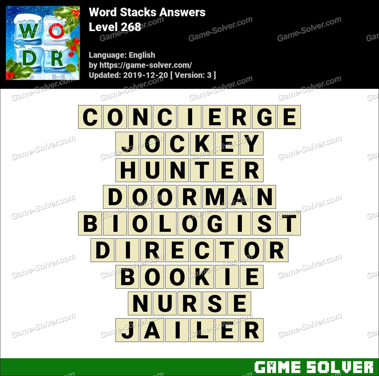 Word Stacks Level 268 Answers
