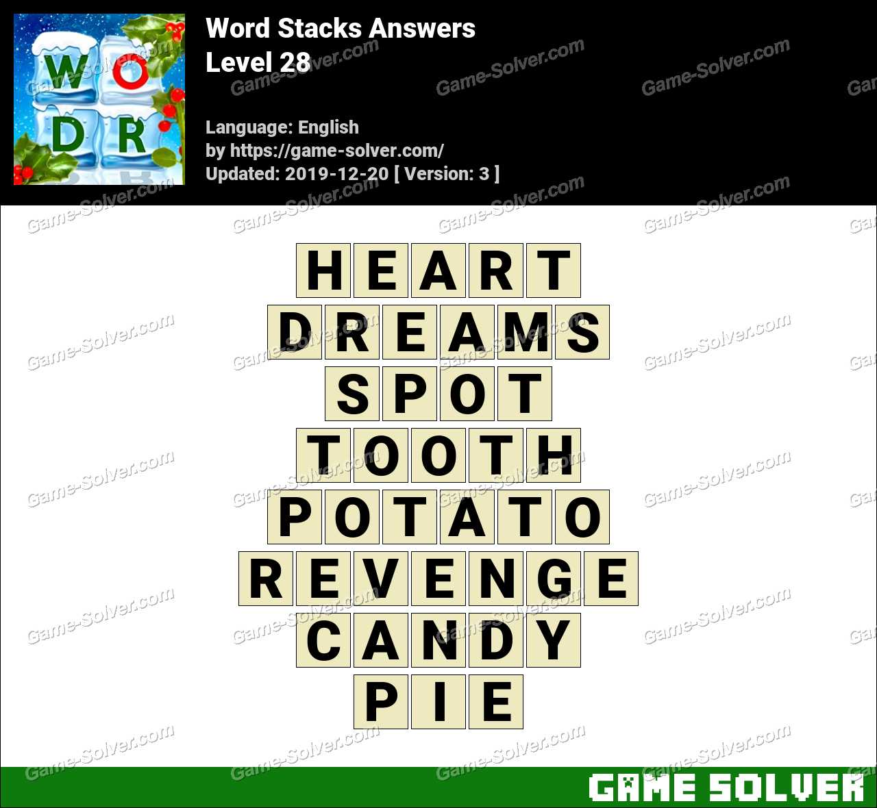 Word Stacks Level 28 Answers
