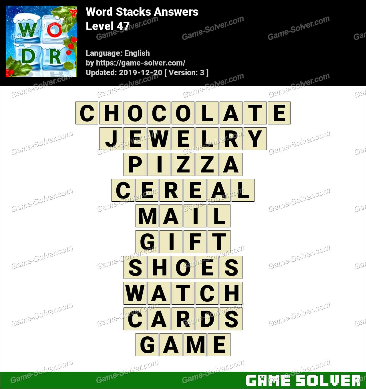 Word Stacks Level 47 Answers
