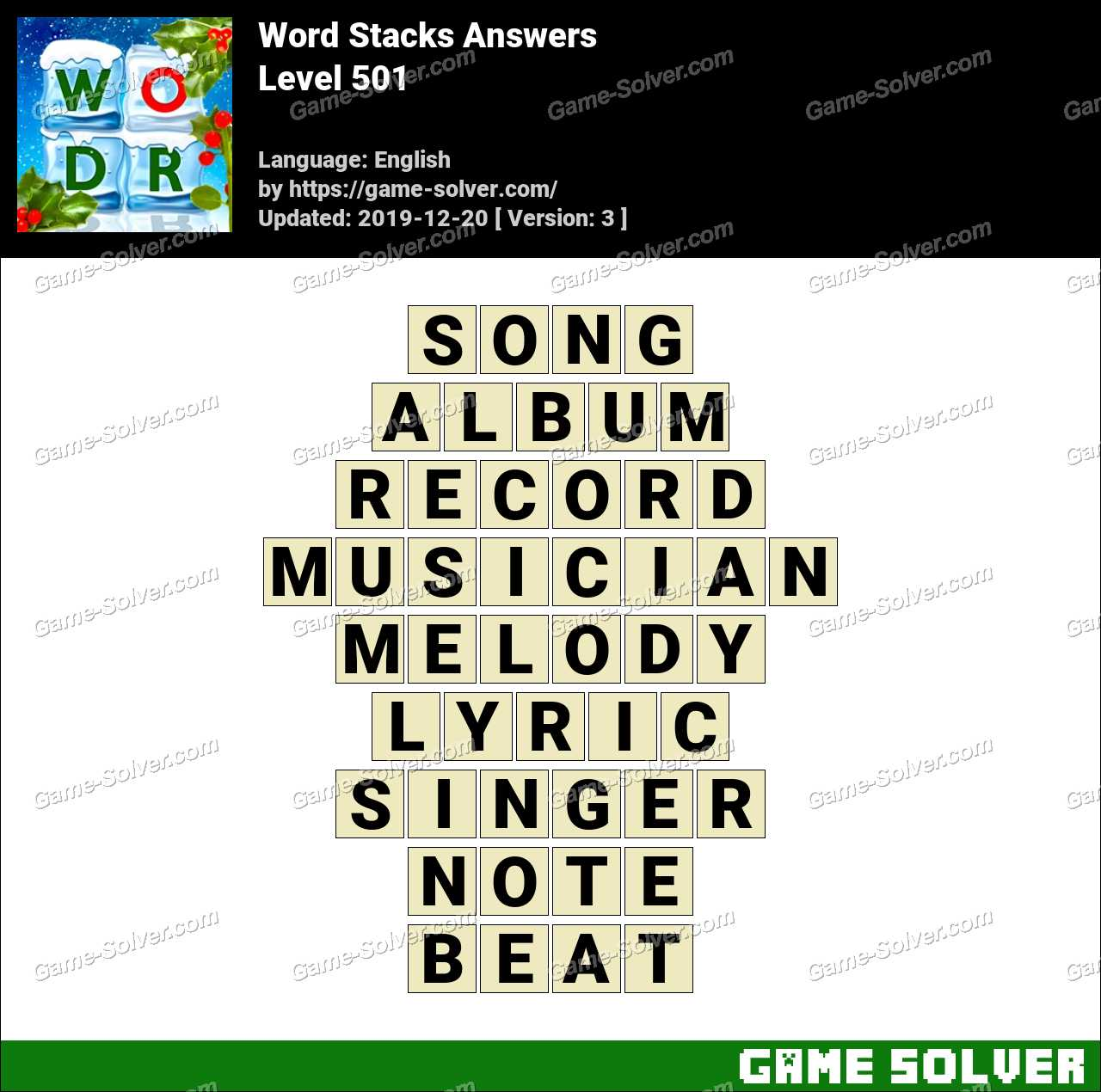 Word Stacks Level 501 Answers