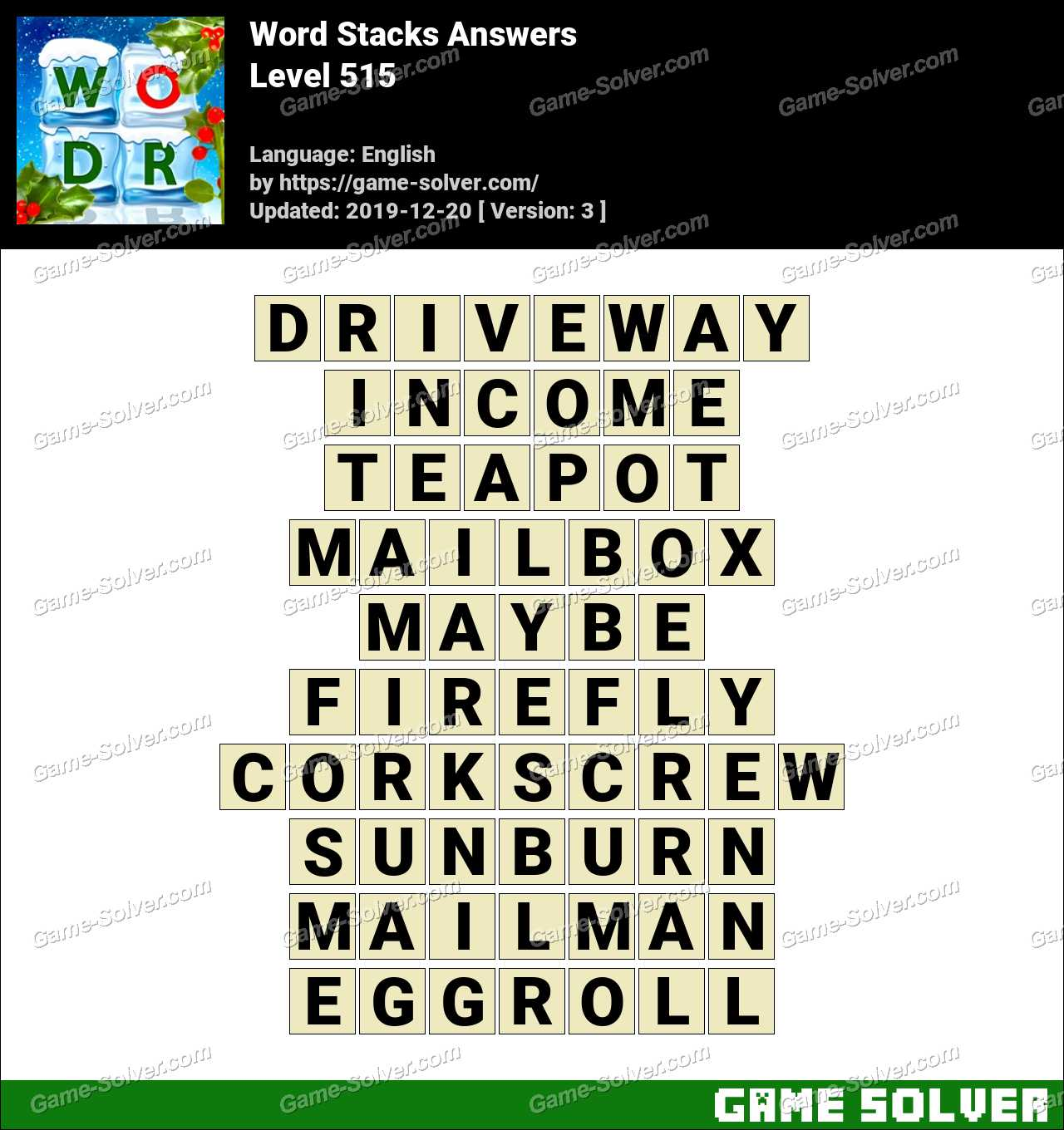 Word Stacks Level 515 Answers