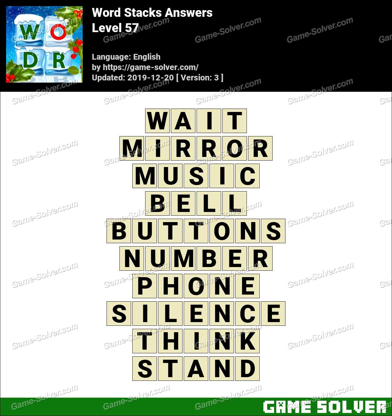 Word Stacks Level 57 Answers