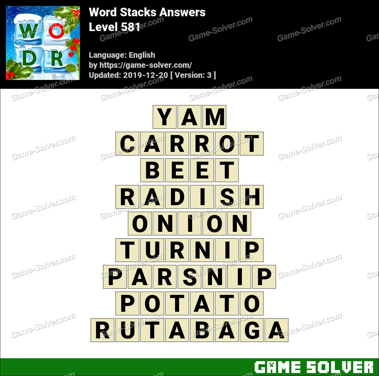 Word Stacks Level 581 Answers