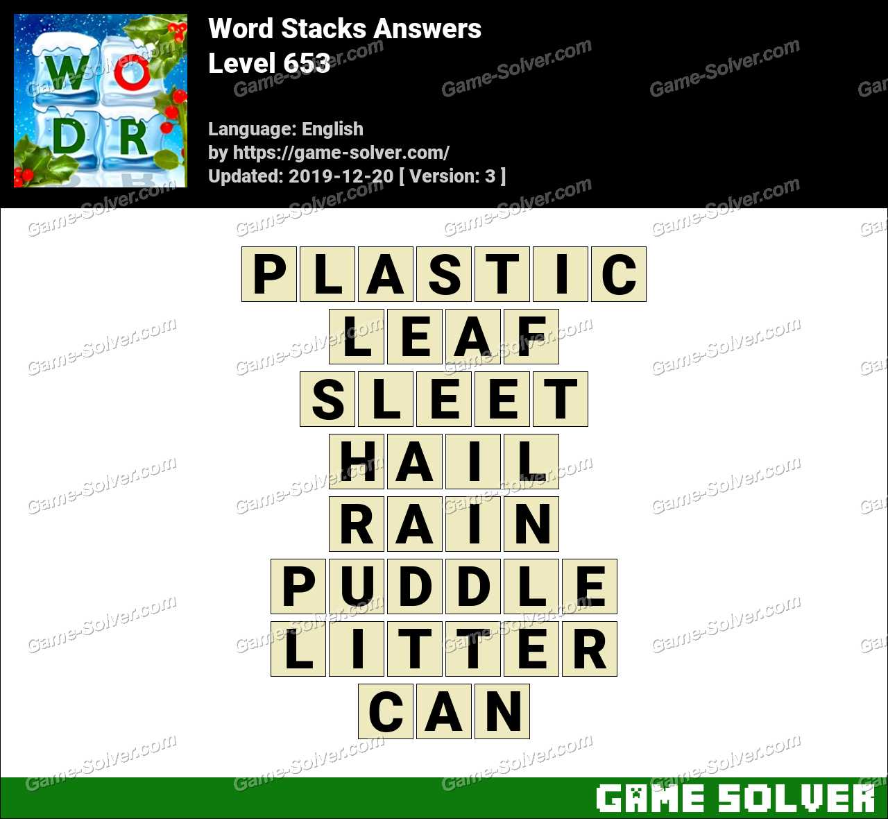 Word Stacks Level 653 Answers