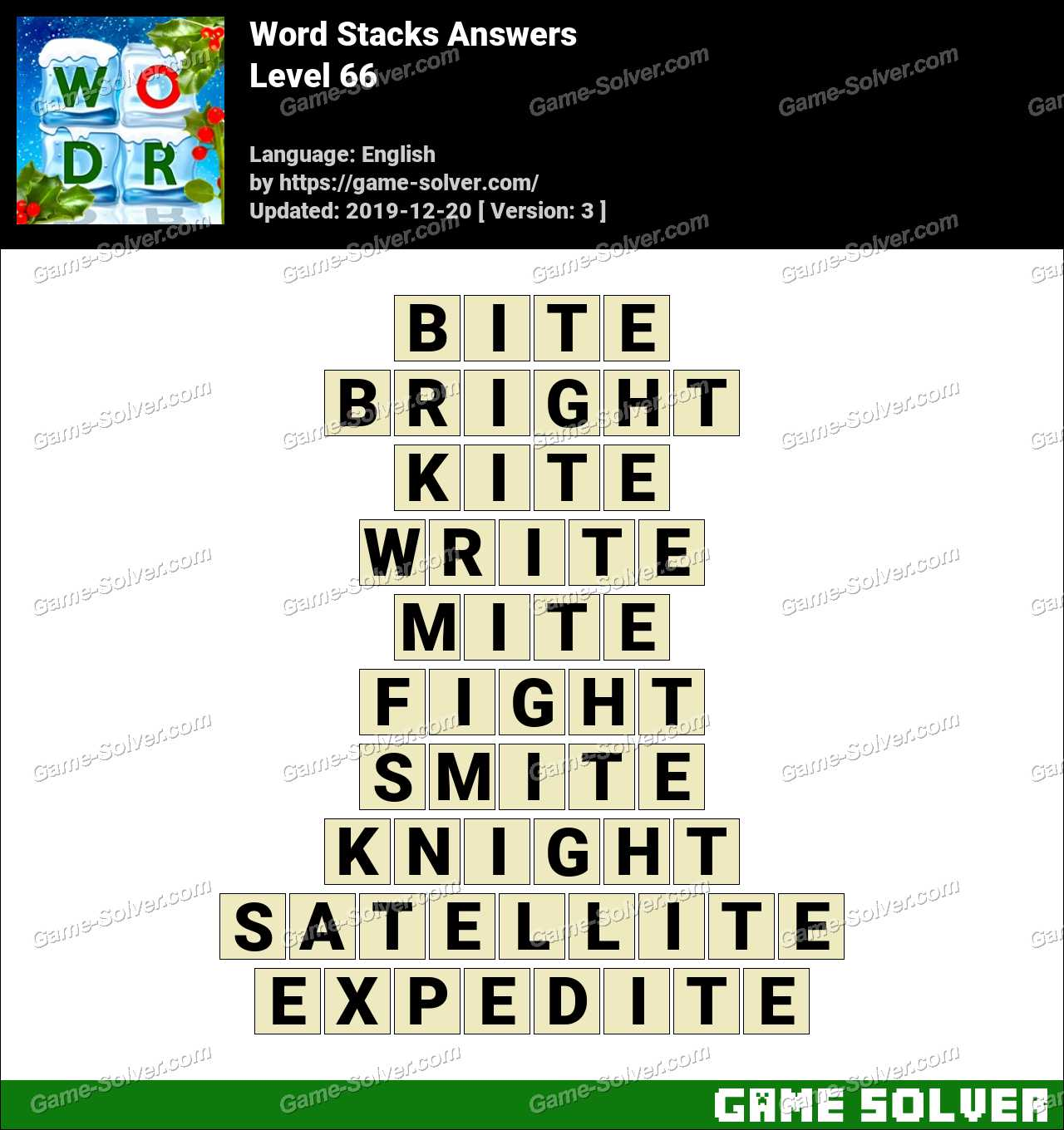 Word Stacks Level 66 Answers