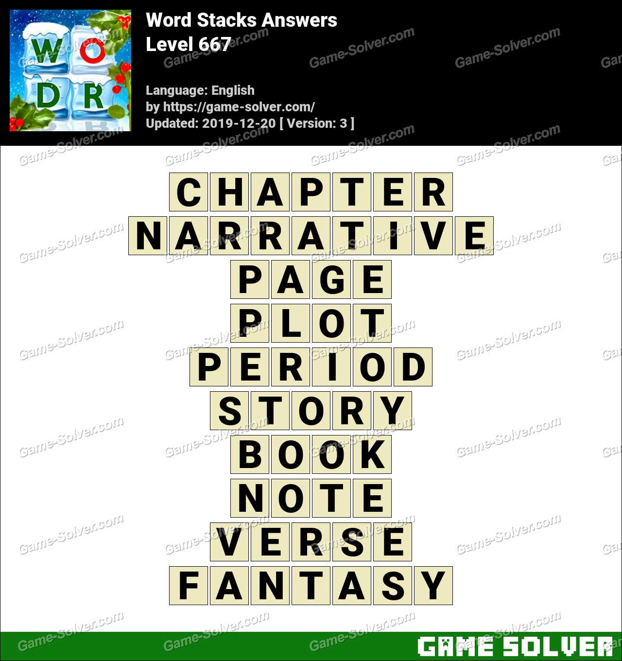 Word Stacks Level 667 Answers