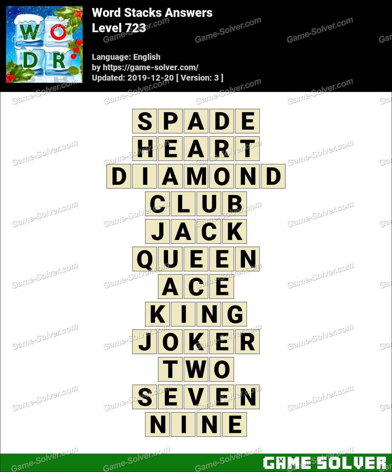 Word Stacks Level 723 Answers