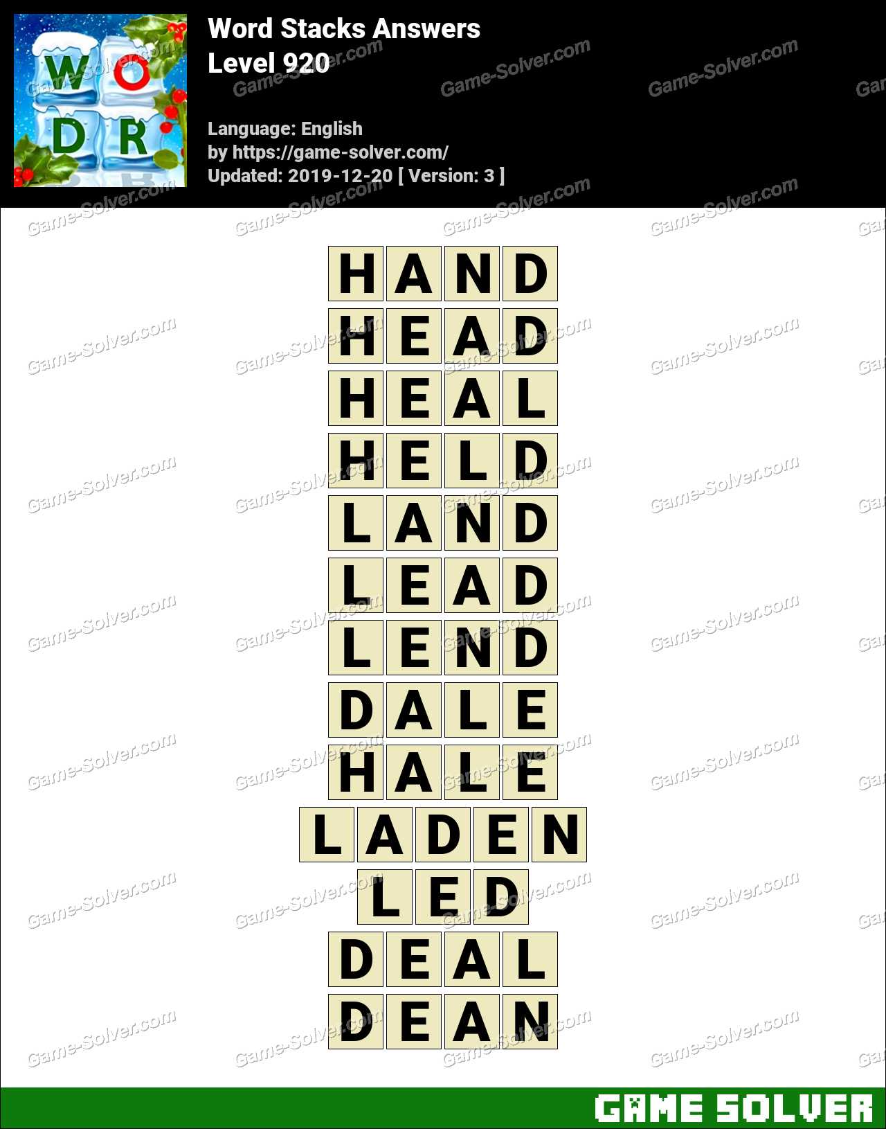 Word Stacks Level 920 Answers