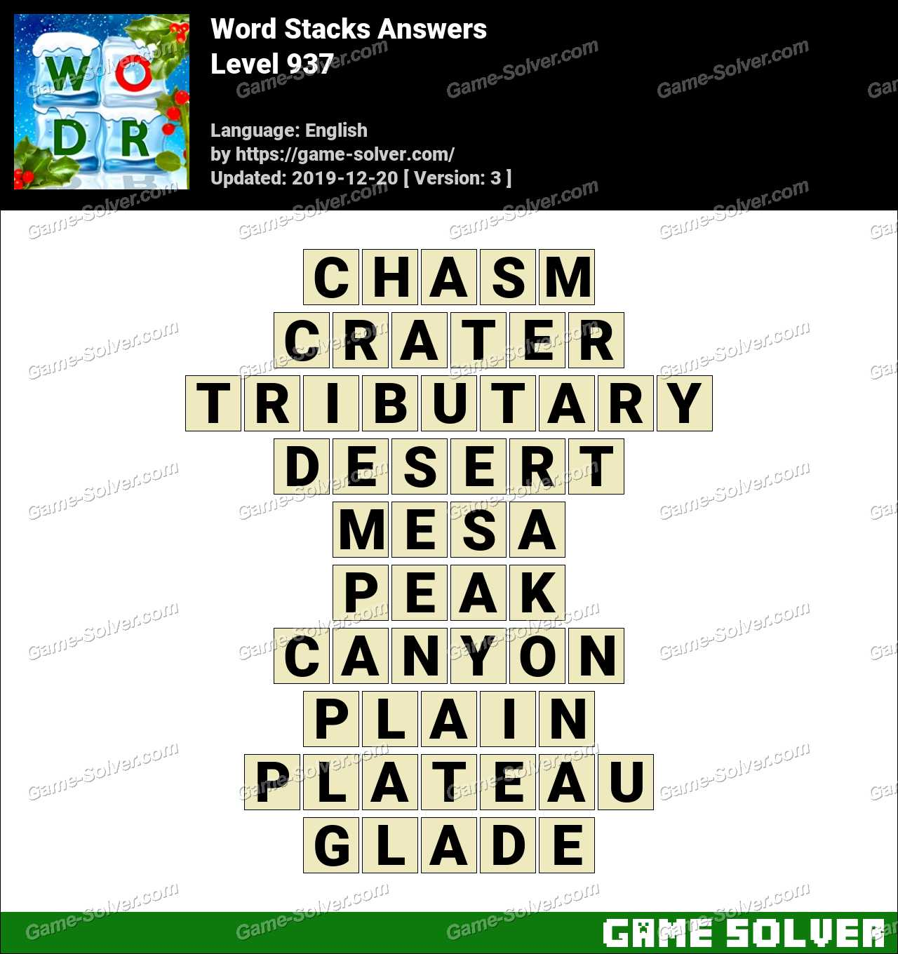 Word Stacks Level 937 Answers