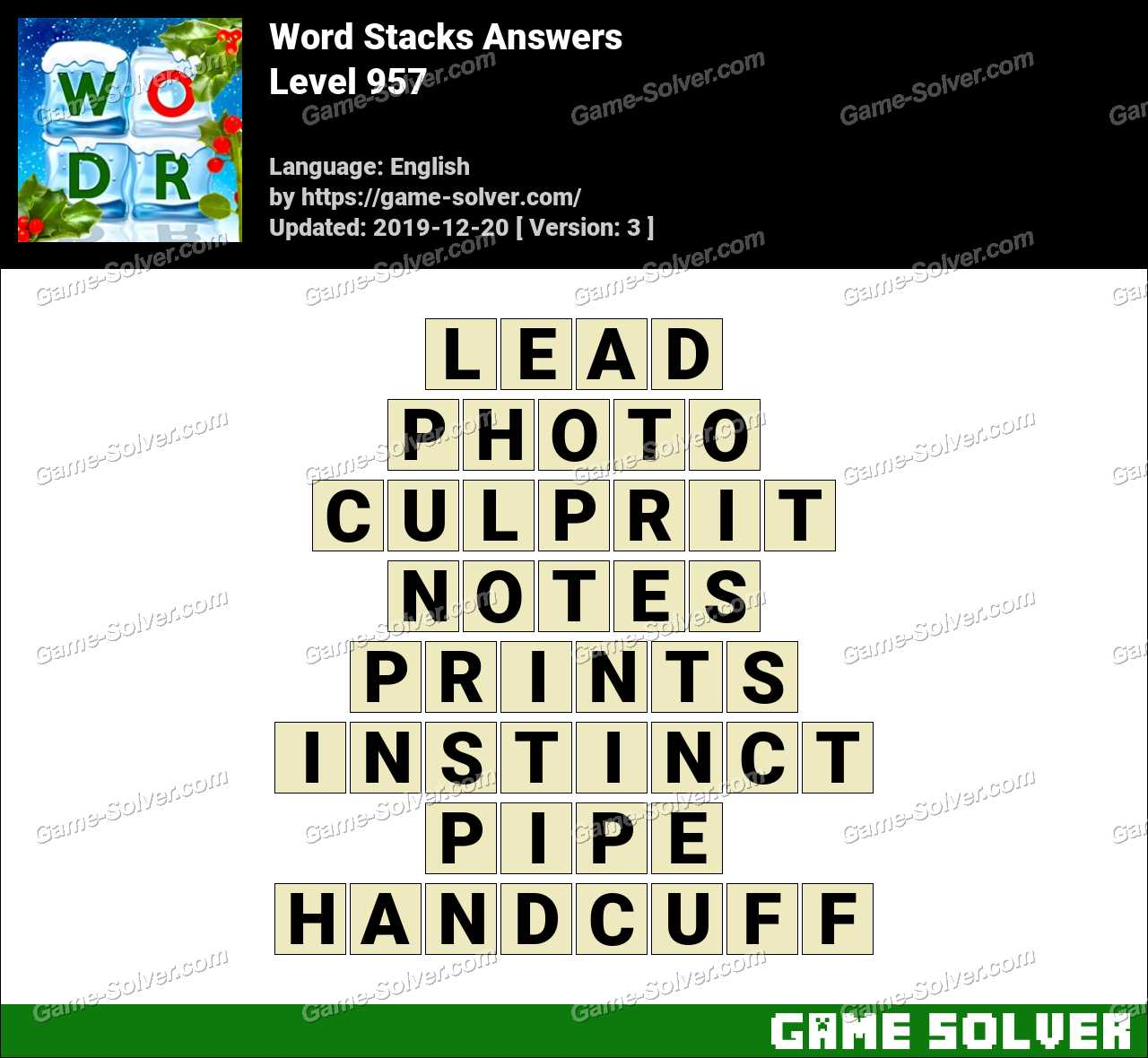 Word Stacks Level 957 Answers