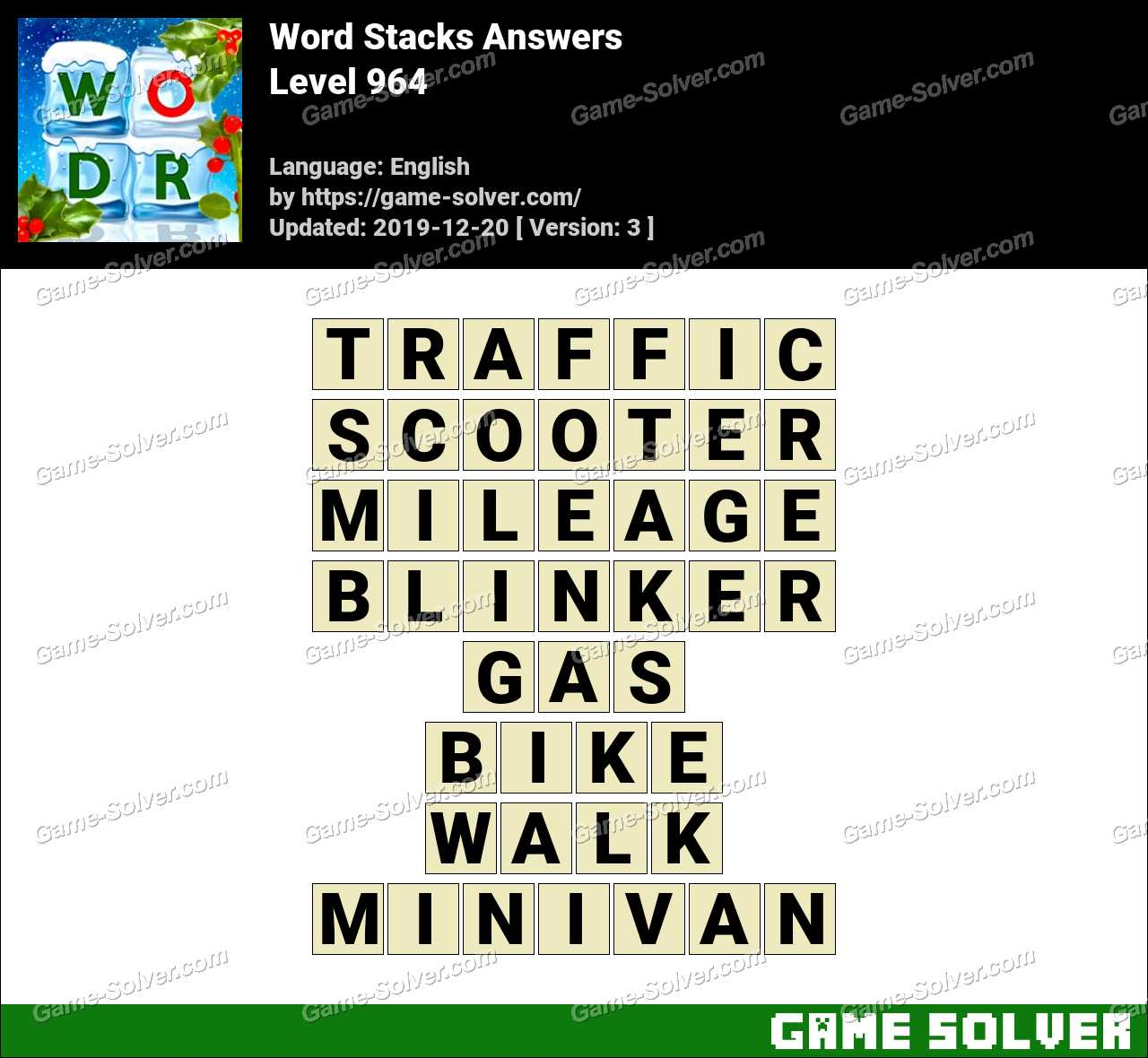 Word Stacks Level 964 Answers