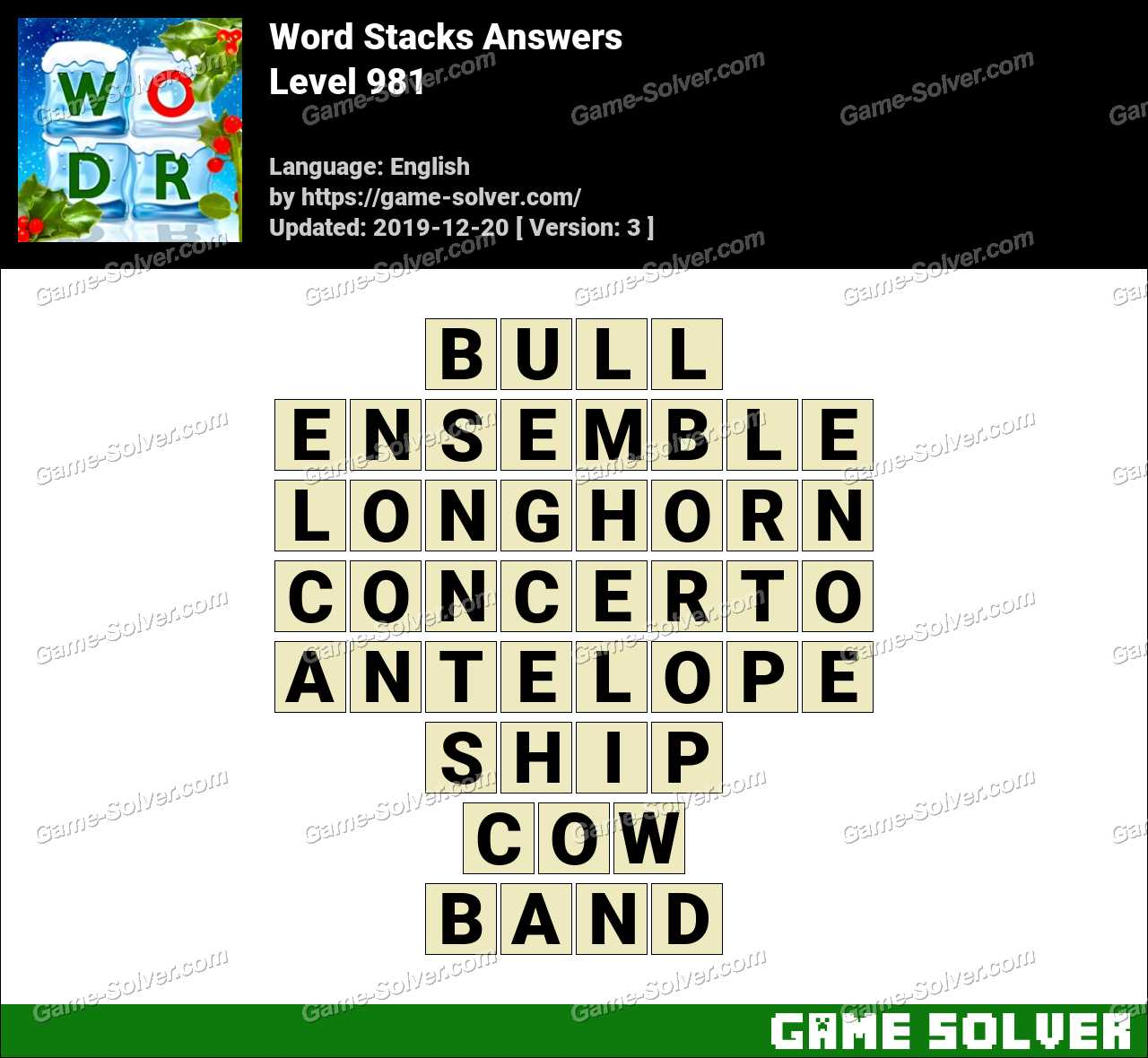 Word Stacks Level 981 Answers