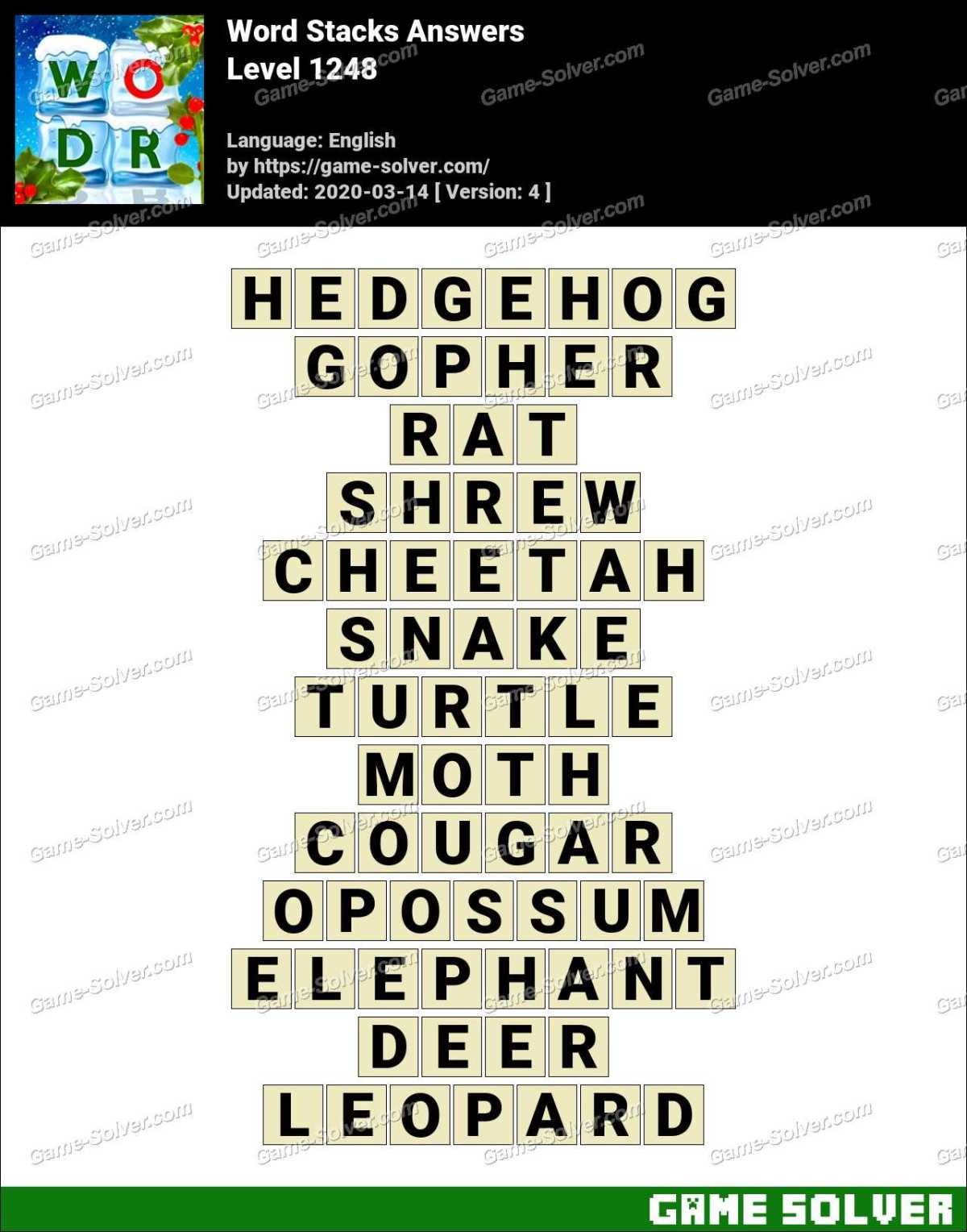 Word Stacks Level 1248 Answers