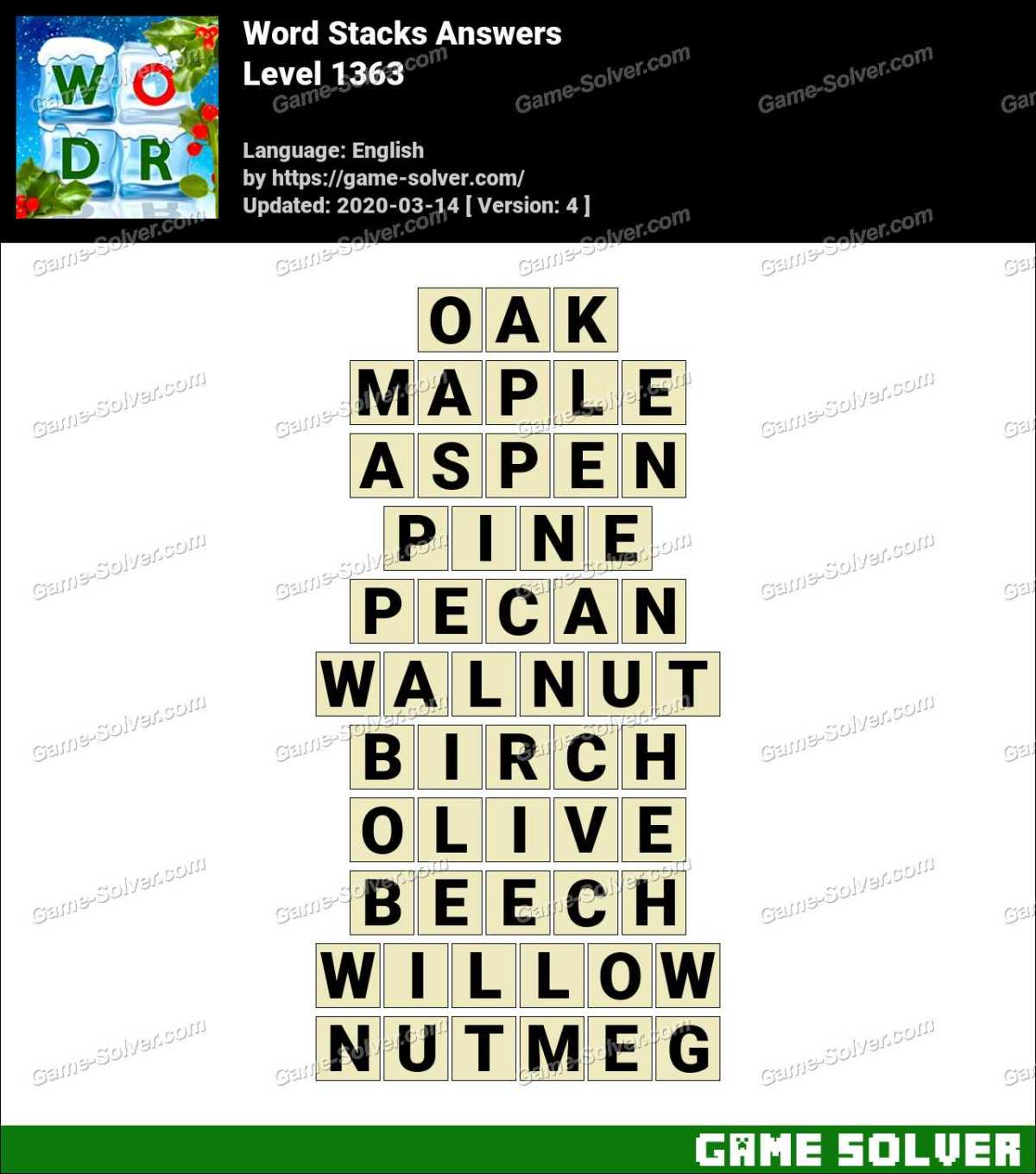 Word Stacks Level 1363 Answers