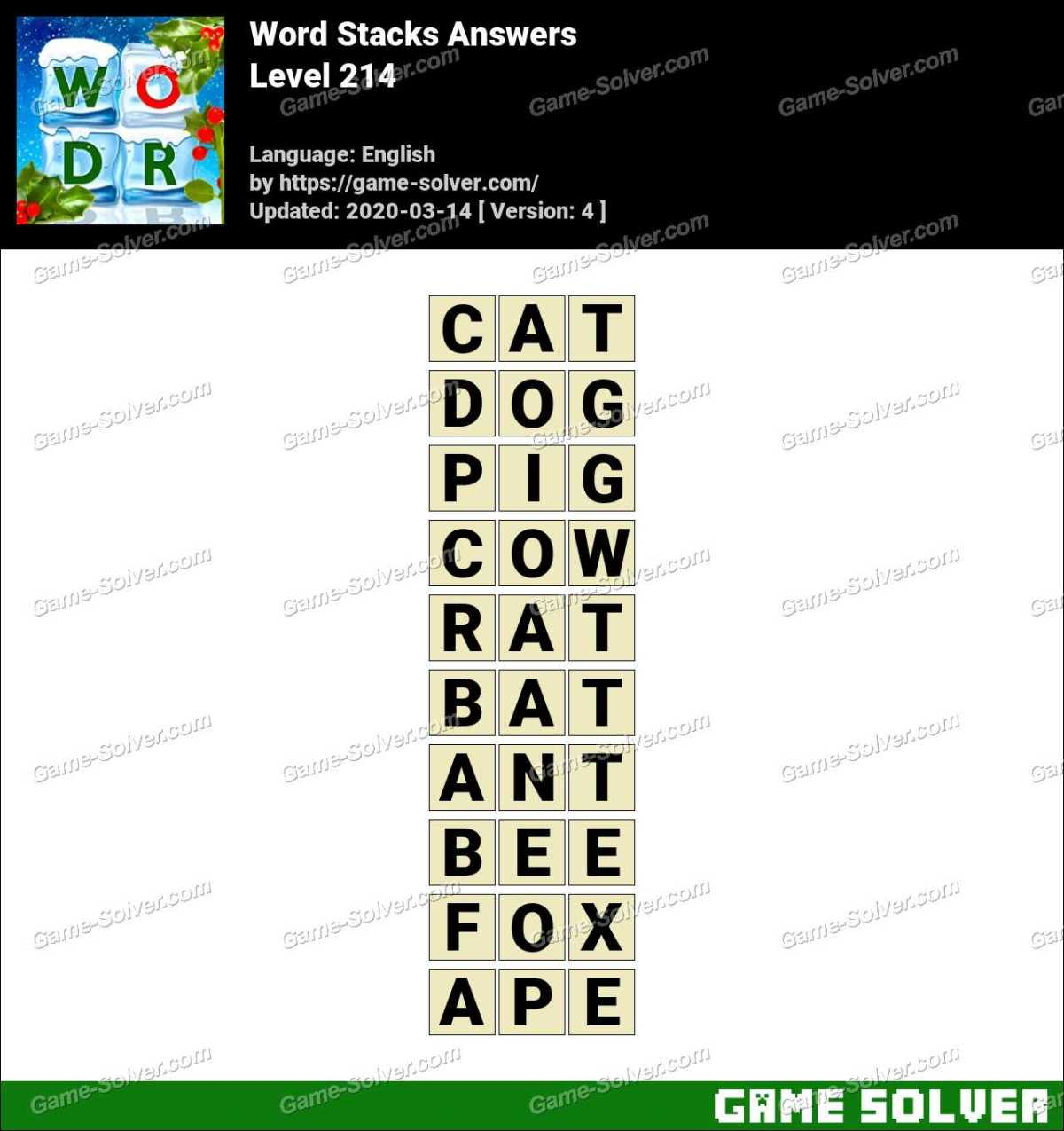 Word Stacks Level 214 Answers