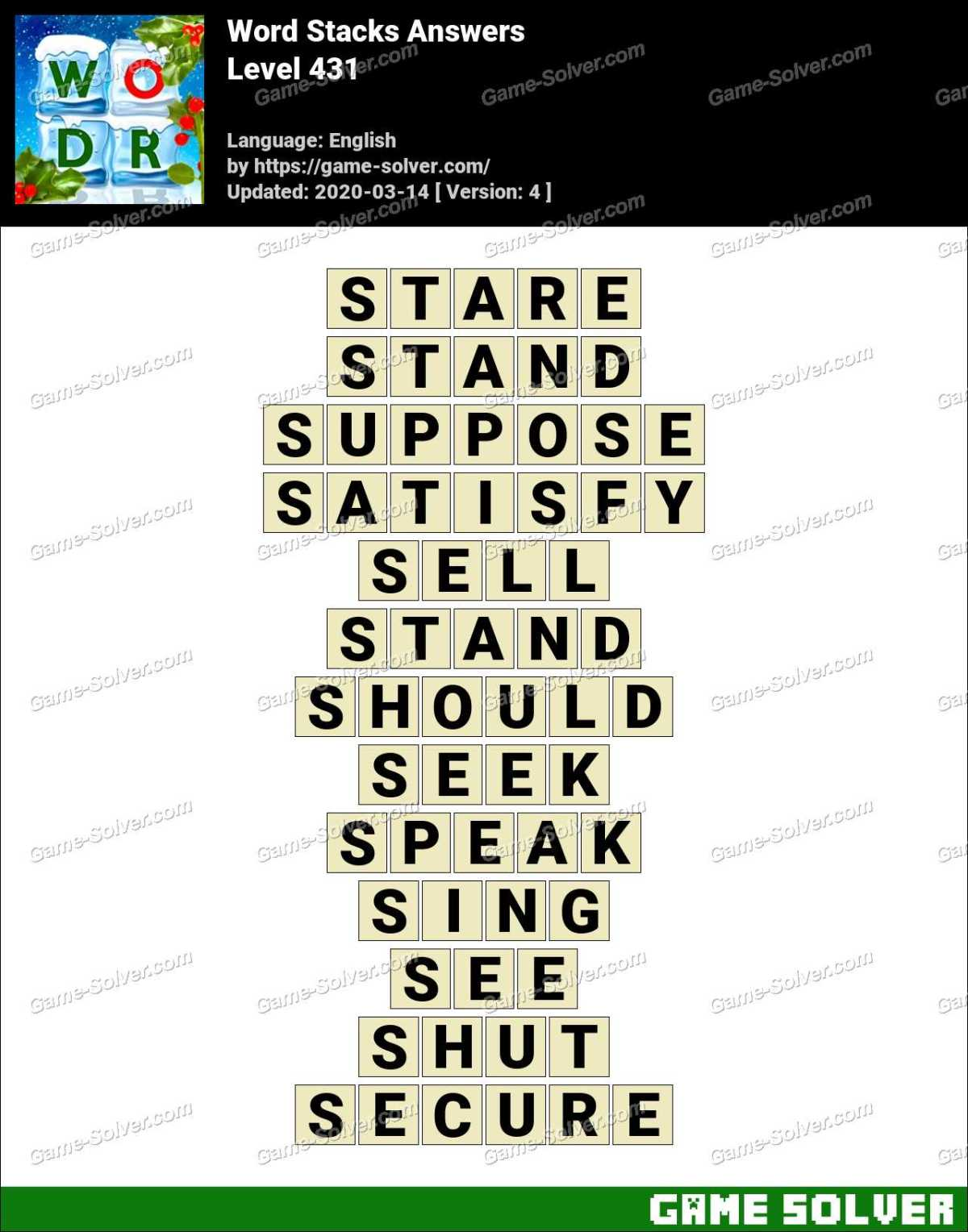 Word Stacks Level 431 Answers