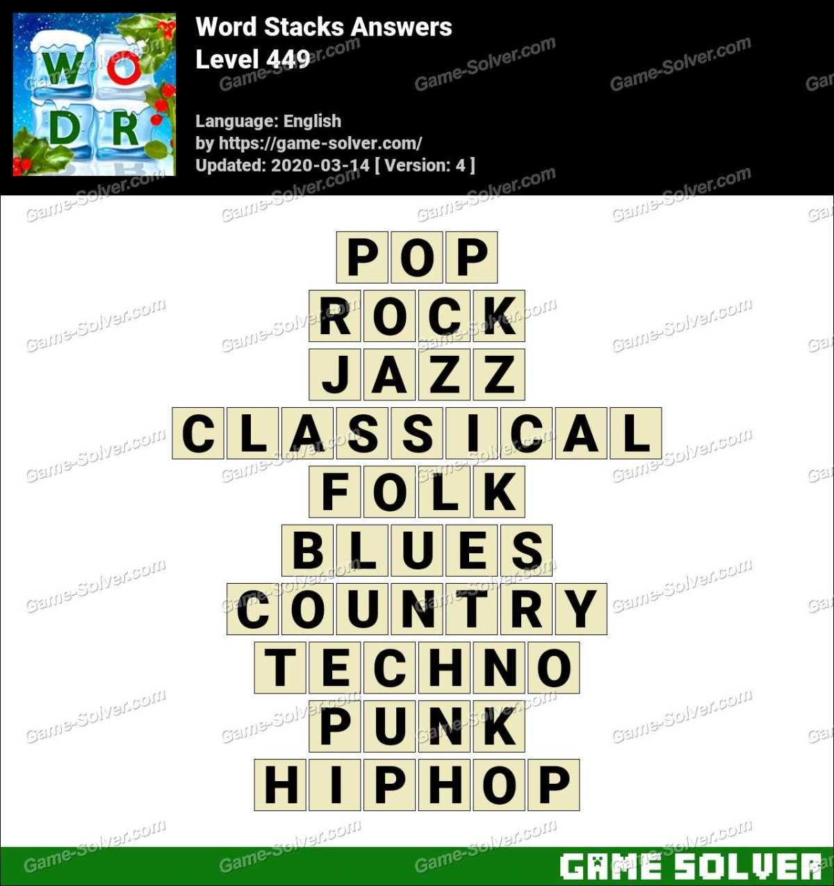 Word Stacks Level 449 Answers