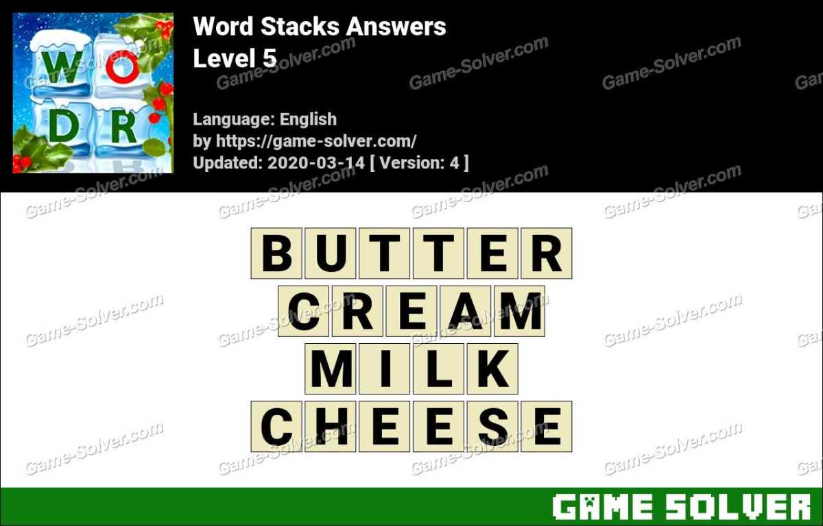 Word Stacks Level 5 Answers