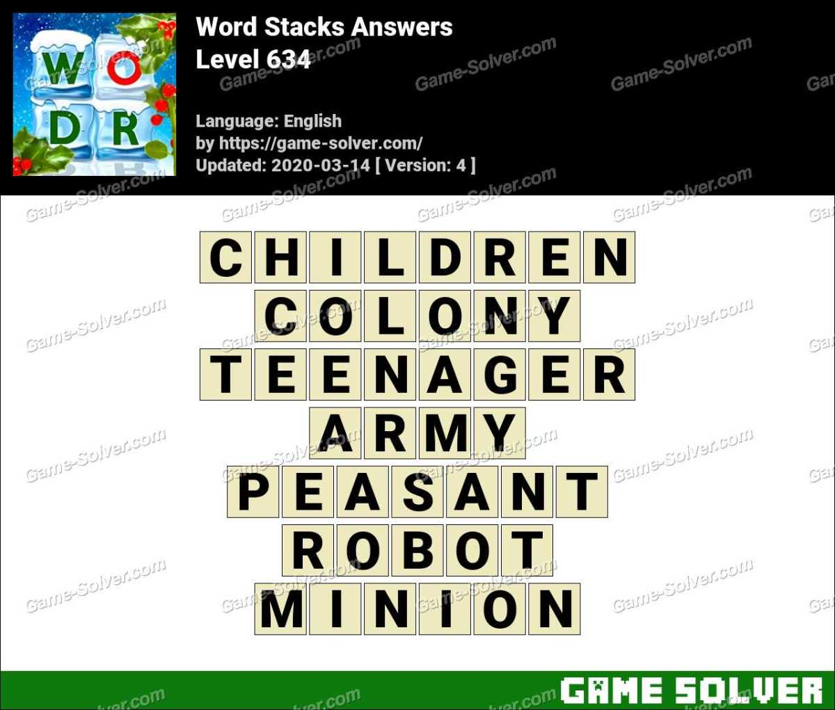 Word Stacks Level 634 Answers
