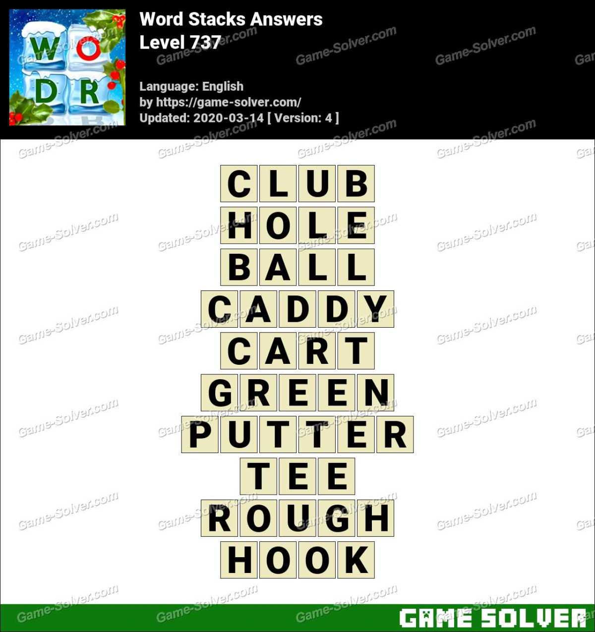 Word Stacks Level 737 Answers