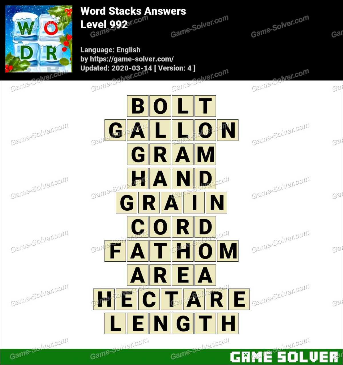 Word Stacks Level 992 Answers