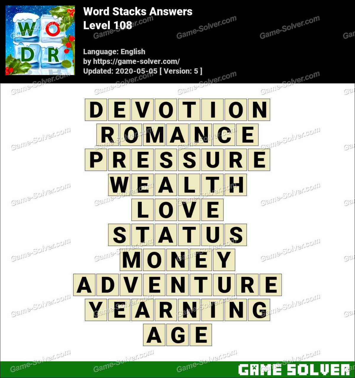 Word Stacks Level 108 Answers