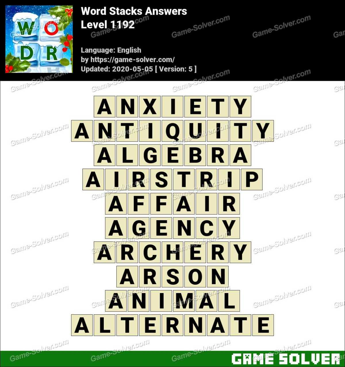 Word Stacks Level 1192 Answers
