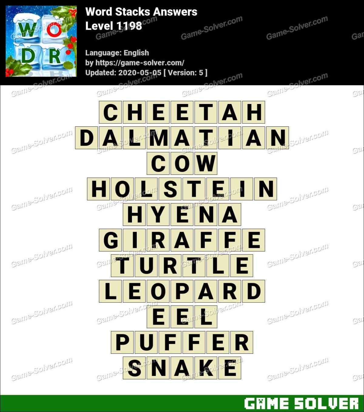 Word Stacks Level 1198 Answers