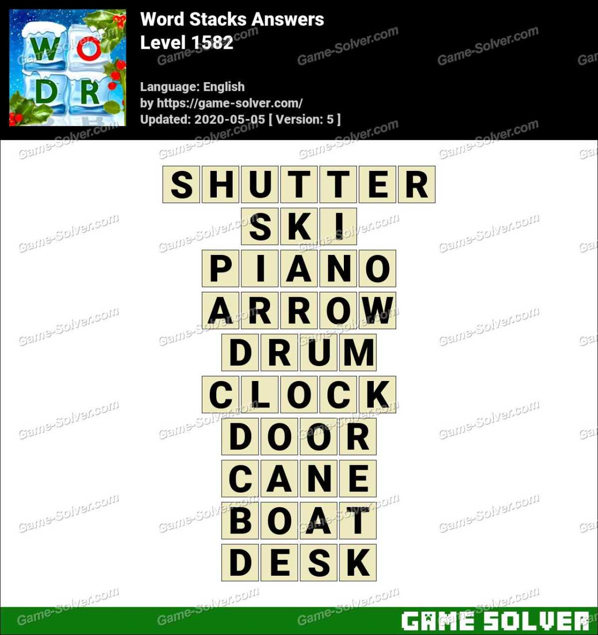 Word Stacks Level 1582 Answers