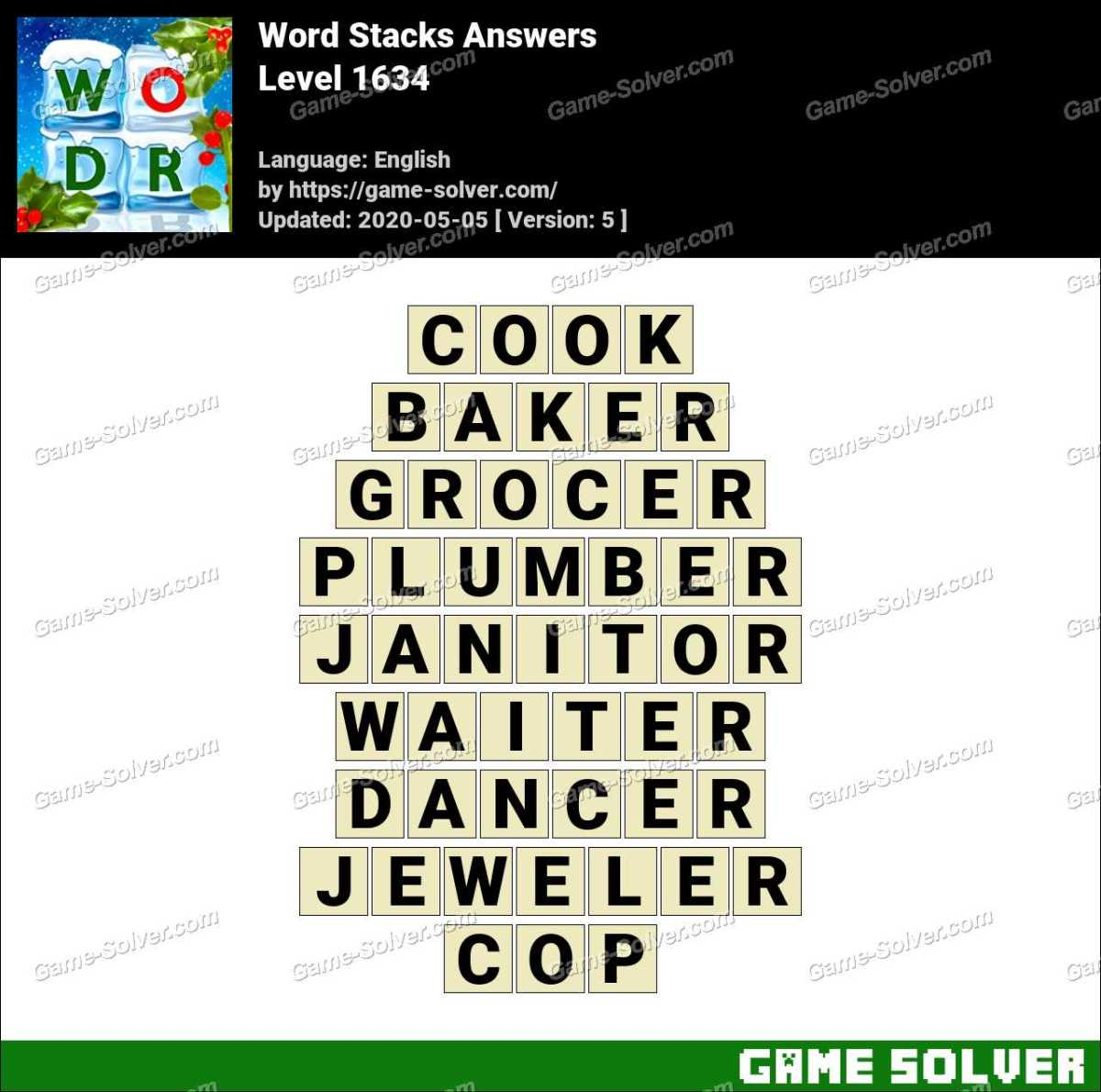 Word Stacks Level 1634 Answers