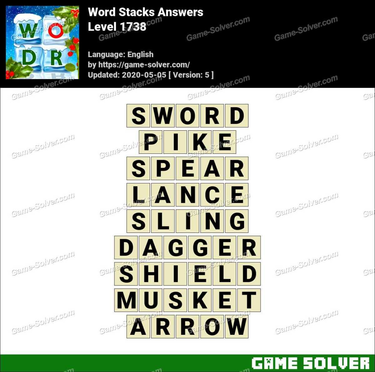 Word Stacks Level 1738 Answers
