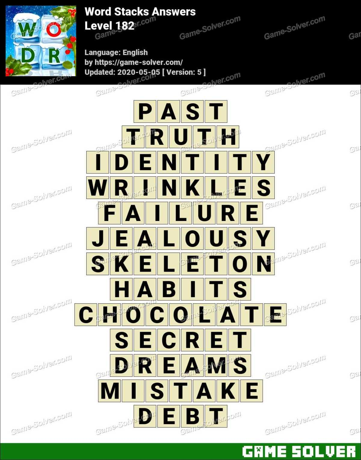 Word Stacks Level 182 Answers Game Solver