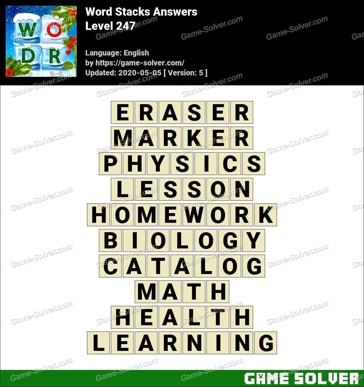 Word Stacks Level 247 Answers