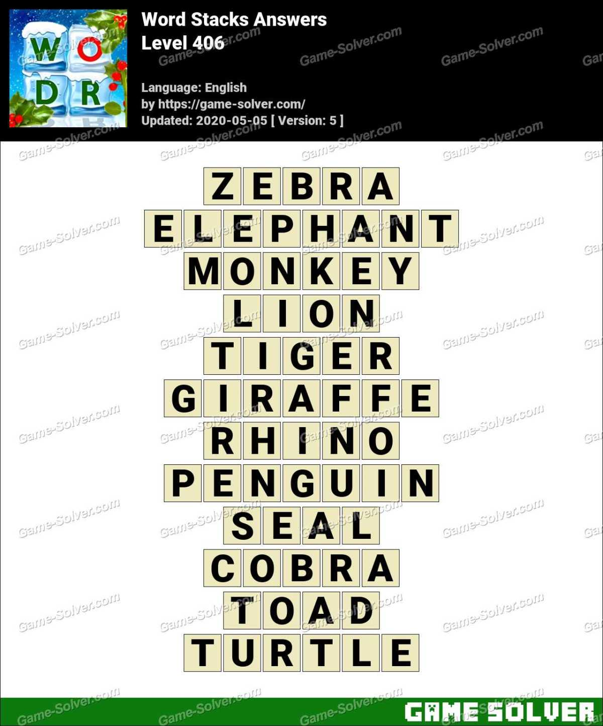 Word Stacks Level 406 Answers