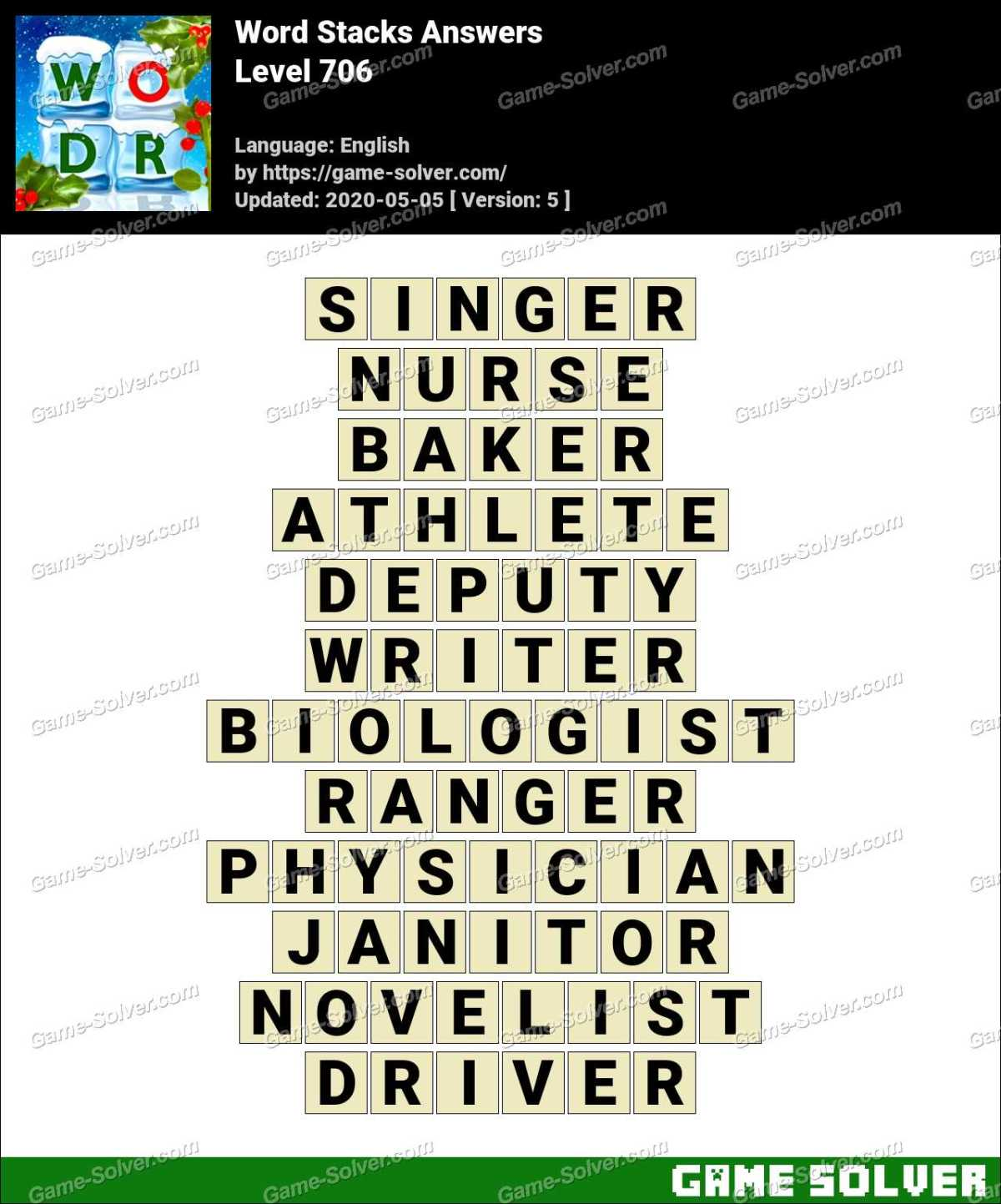 Word Stacks Level 706 Answers
