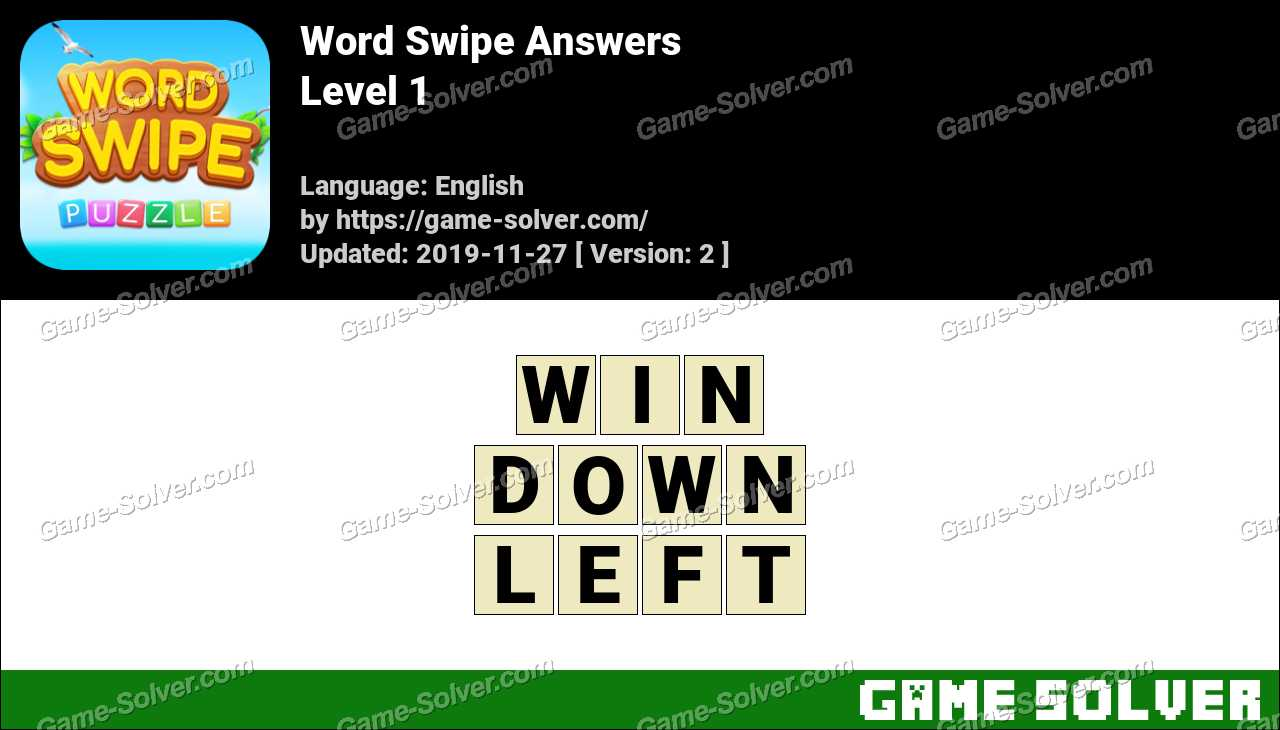 Word Swipe Level 1 Answers