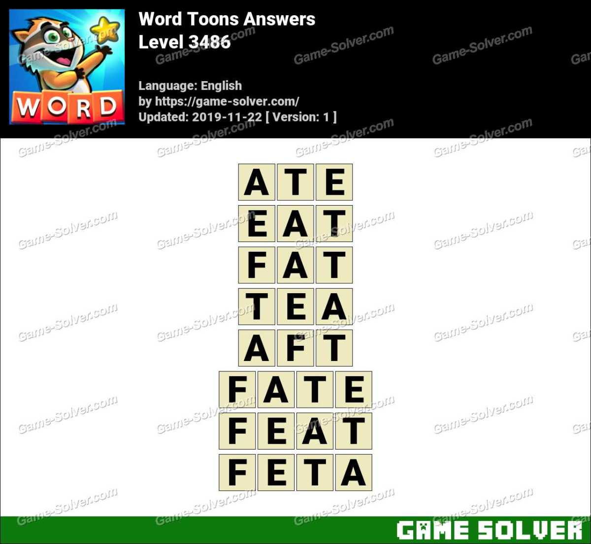 Word Toons Level 3486 Answers
