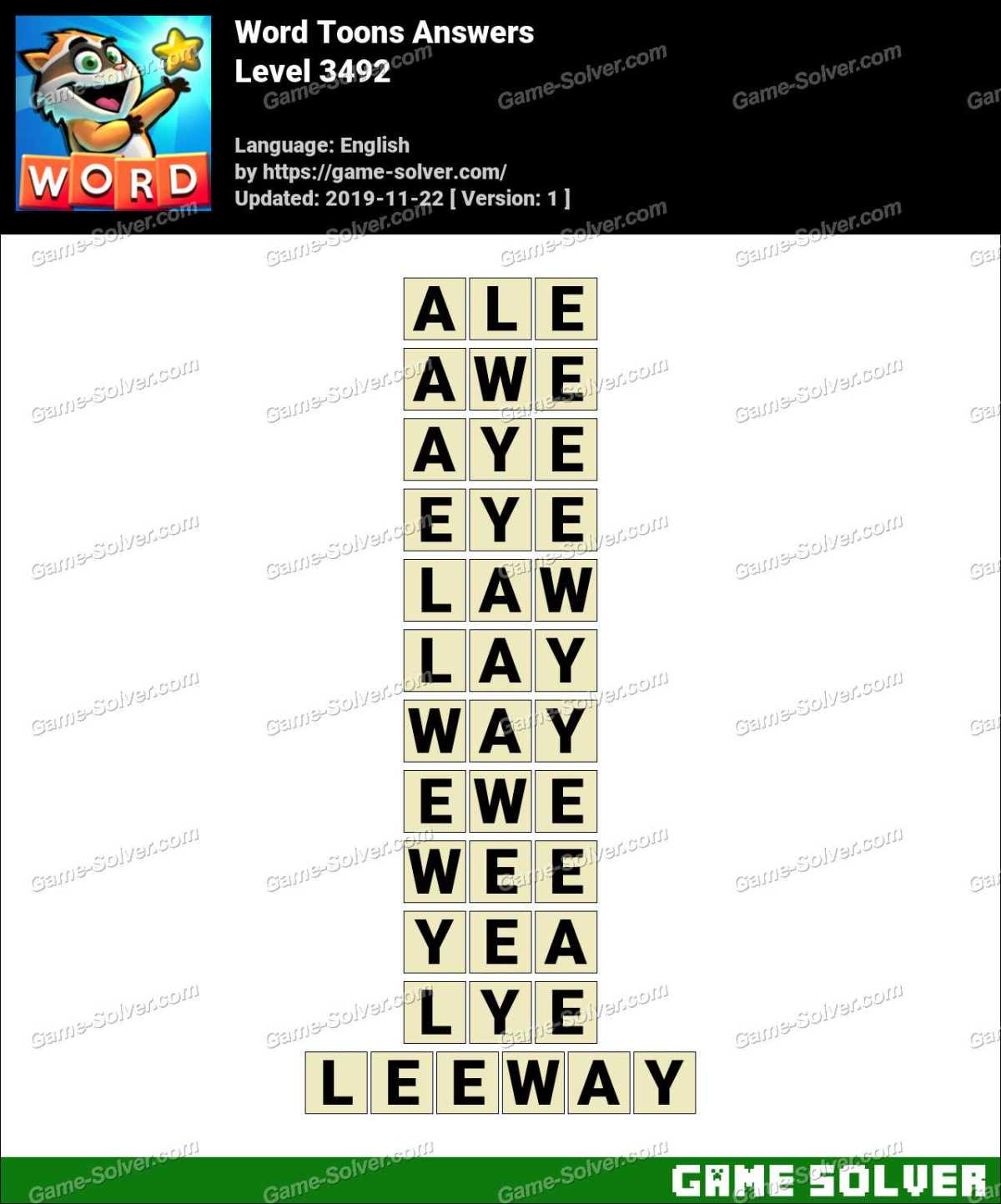 Word Toons Level 3492 Answers