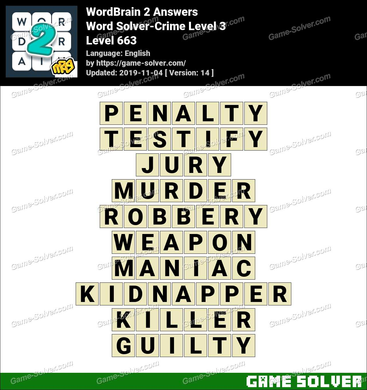 Word Solver Crime Level 3 Answers