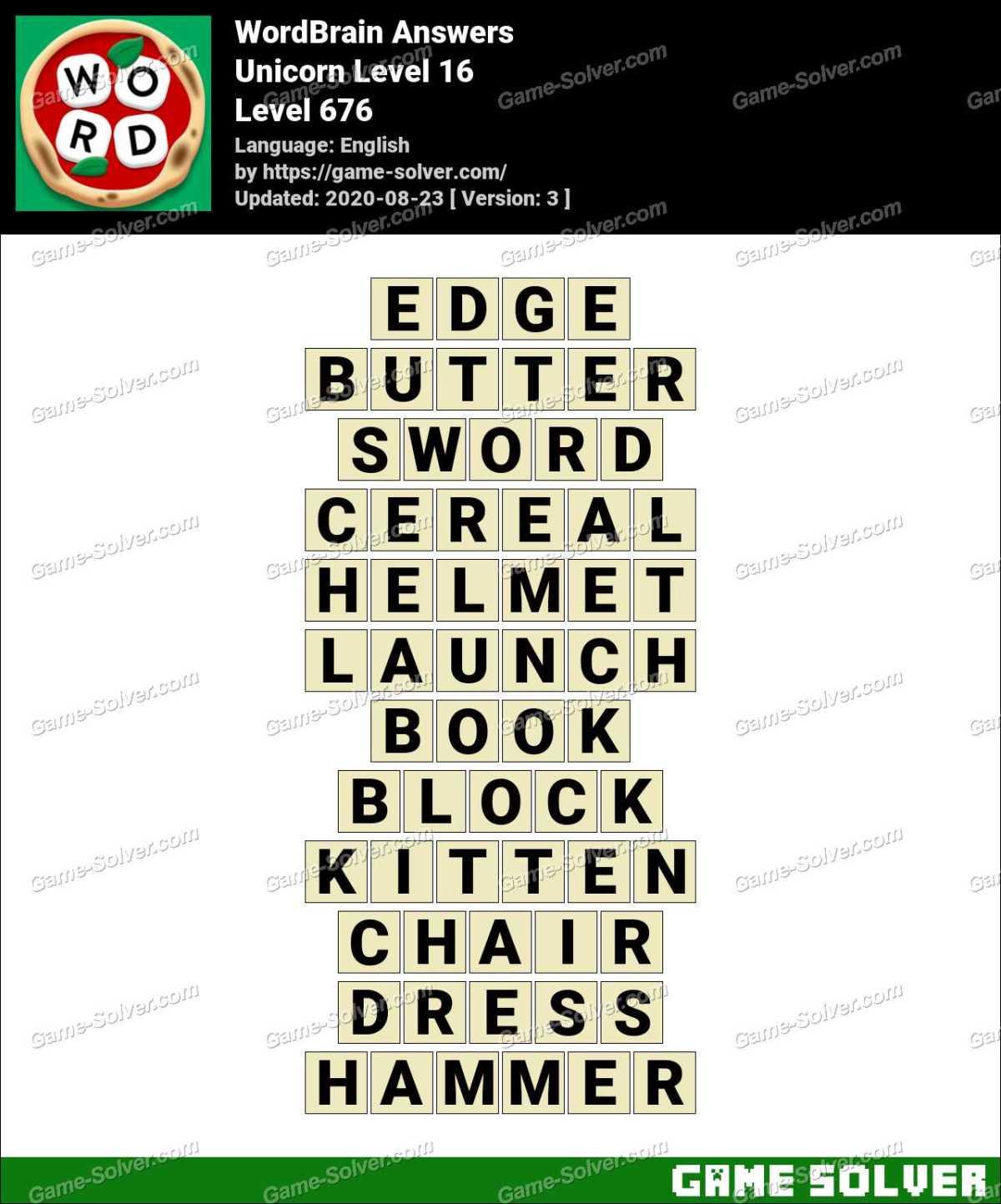 WordBrain Unicorn Level 16 Answers
