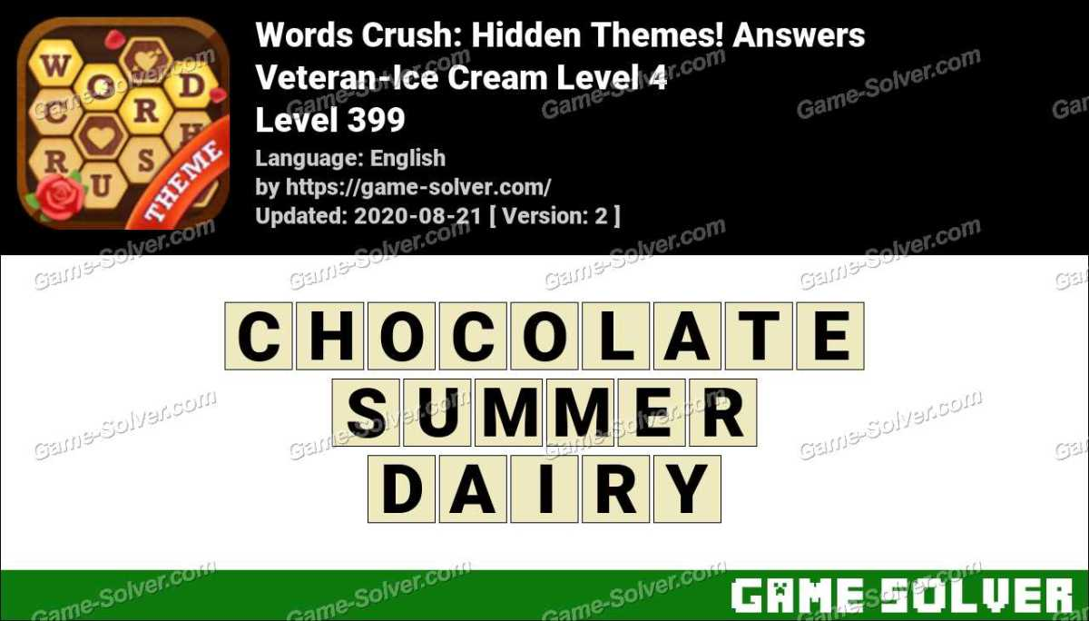 Words Crush Veteran-Ice Cream Level 4 Answers