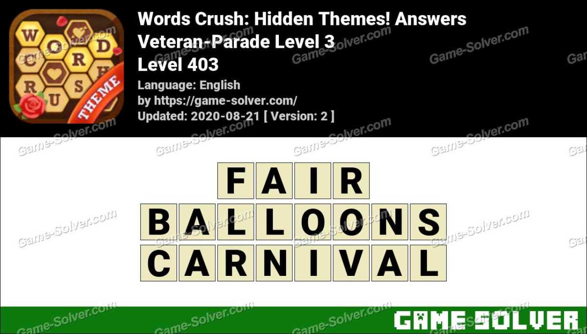 Words Crush Veteran-Parade Level 3 Answers