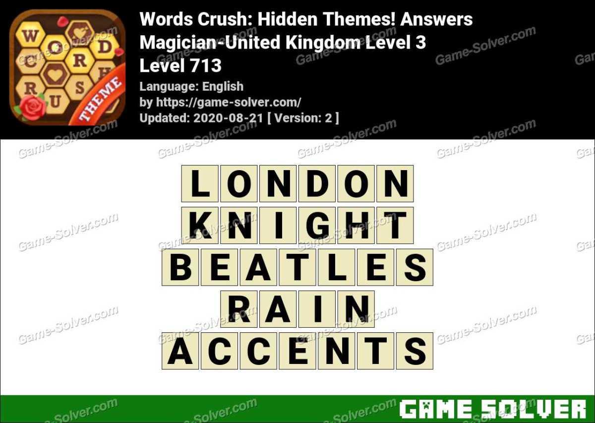 Words Crush Magician-United Kingdom Level 3 Answers