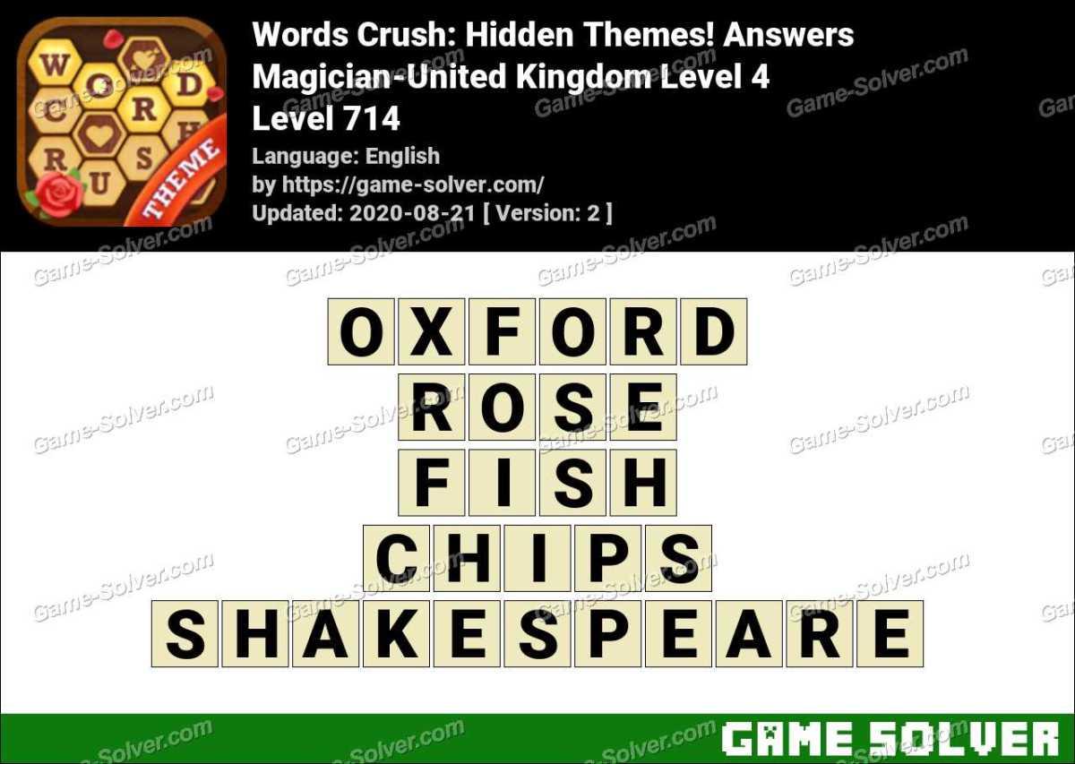 Words Crush Magician-United Kingdom Level 4 Answers